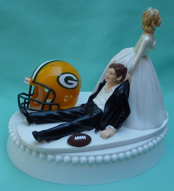 Wedding Cakes Green Bay  Wedding Cake Topper Green Bay Packers GB Football Themed