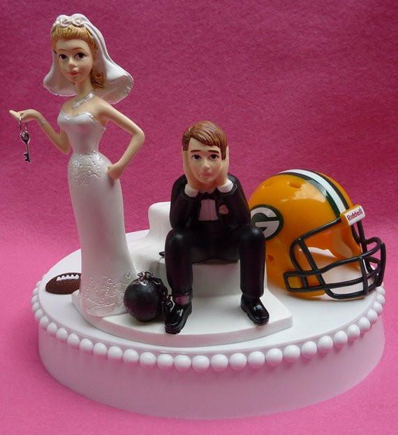 Wedding Cakes Green Bay  Wedding Cake Topper Green Bay Packers GB Football Themed Ball