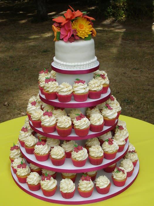 Wedding Cakes Hawaii  Hawaiian Themed Wedding Cake Cupcakes cake by Jon O