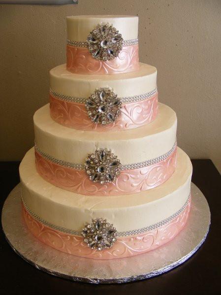Wedding Cakes Houston  IVORYPINKSILVERBROACHEDWEDDINGCAKE Houston