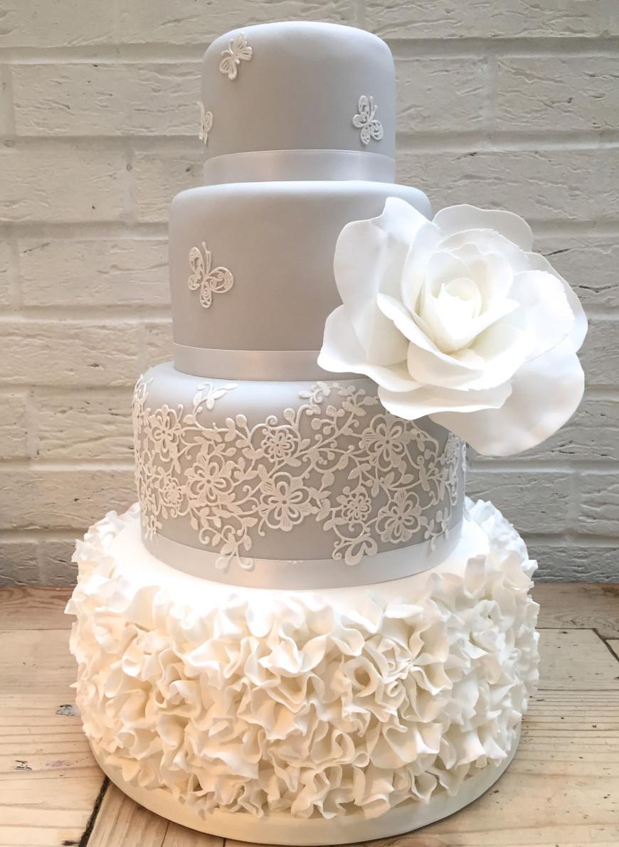 Wedding Cakes Lace  Grey Ruffle Lace Wedding Cake
