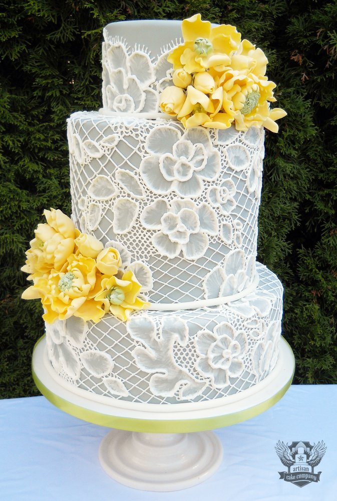 Wedding Cakes Lace  Grey Wedding Ideas 3 Perfect Colors to bine with Grey