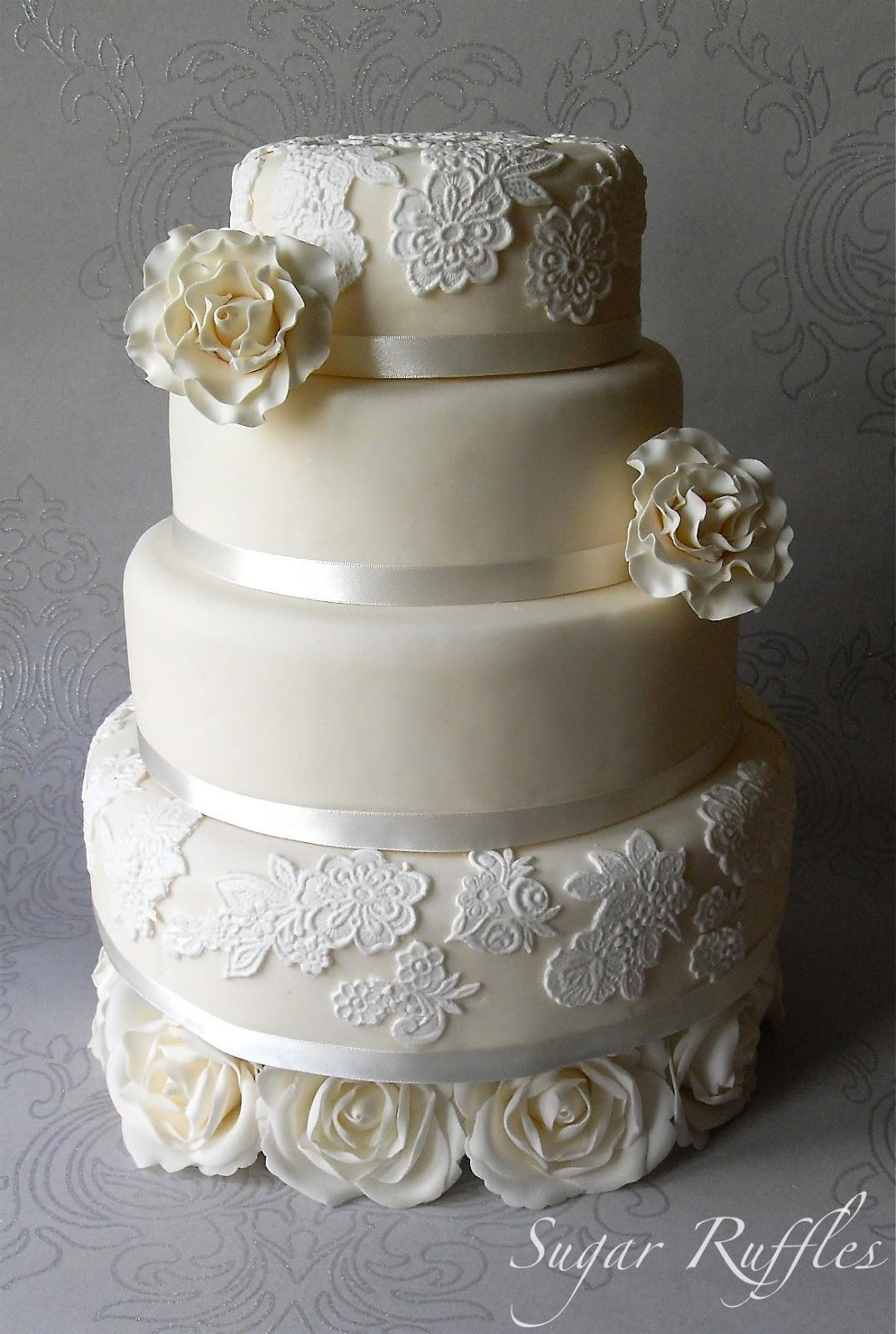 Wedding Cakes Lace  Ivory roses and lace wedding cake