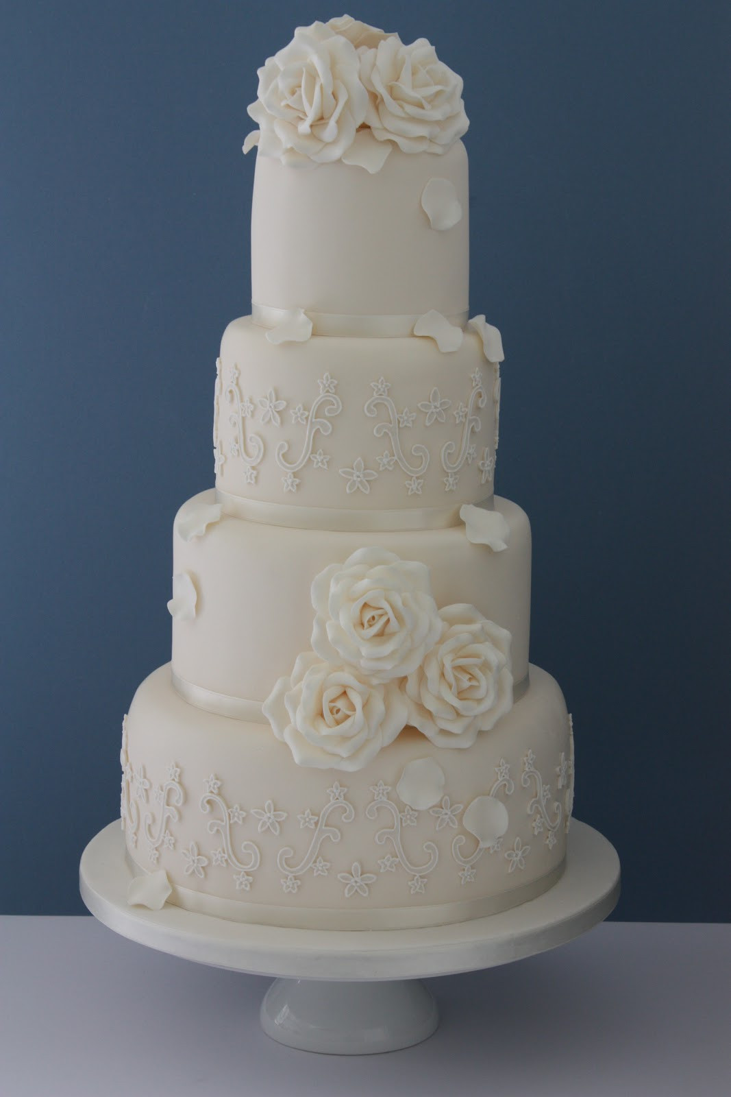 Wedding Cakes Lace  Tiers & Tiaras Ivory Roses & Piped Lace Wedding Cake