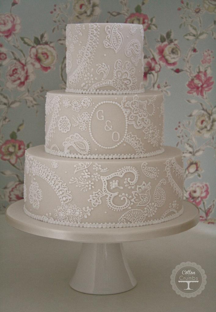Wedding Cakes Lace  Wedding Cakes Paisley Lace Wedding Cake Weddbook