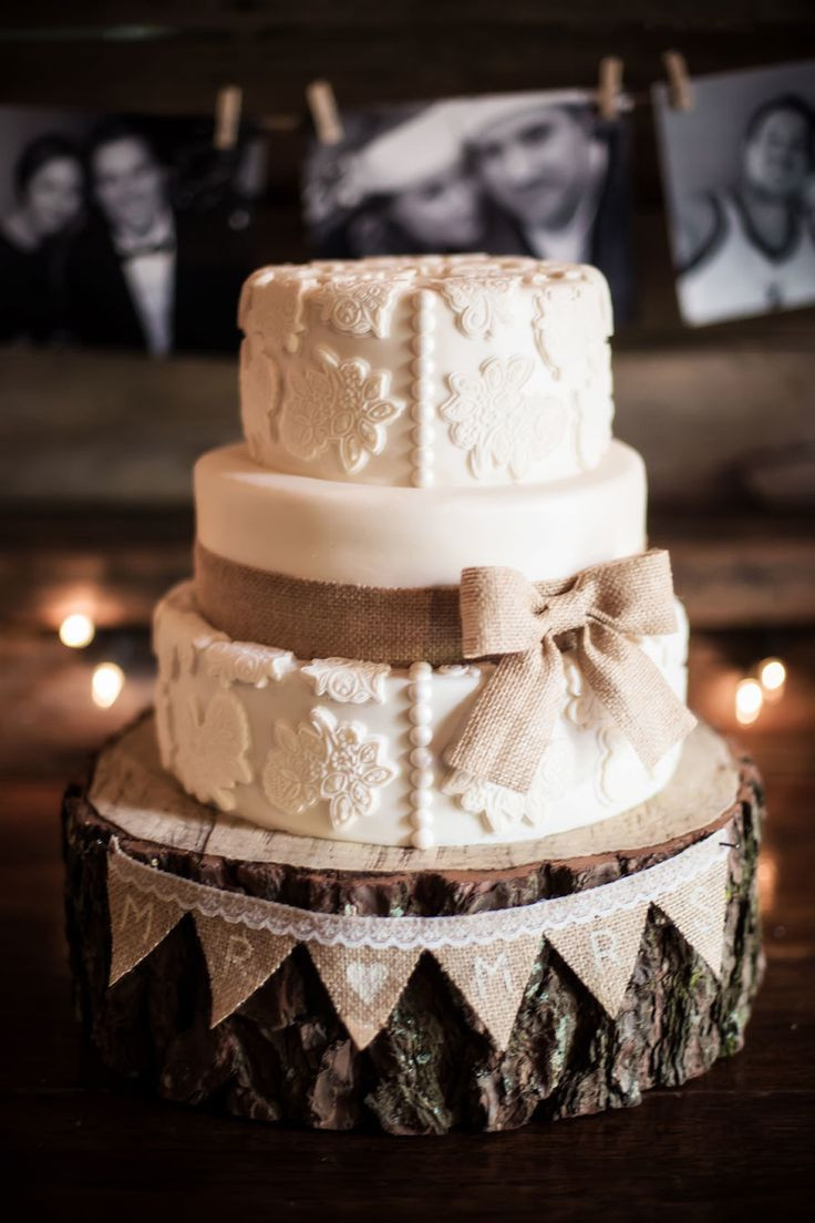Wedding Cakes Lace  45 Chic Rustic Burlap & Lace Wedding Ideas and Inspiration