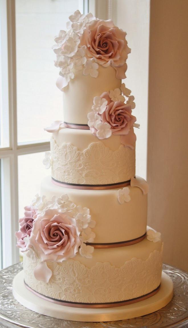 Wedding Cakes Lace  Bison Bantaran Gorgeous Lace Wedding Cakes