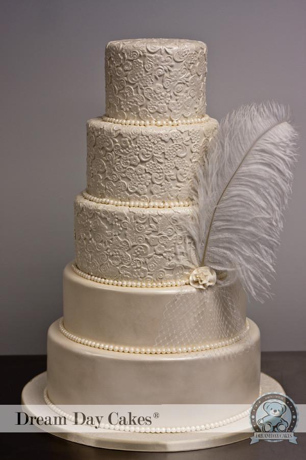 Wedding Cakes Lace  Ivory Lace Wedding Cake Gainesville FL