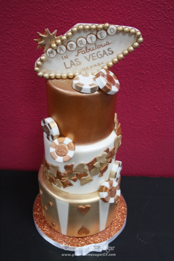 Wedding Cakes Las Vegas  Bronze and copper Las Vegas themed wedding cake