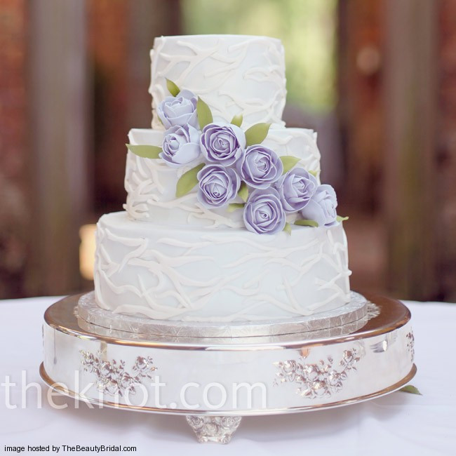Wedding Cakes Lavender  Beautiful purple wedding cakes with floral details