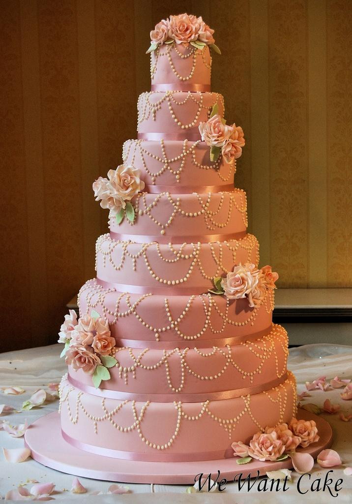 Wedding Cakes Layers  8 layered Wedding Cake With Edible Pearls Weddbook