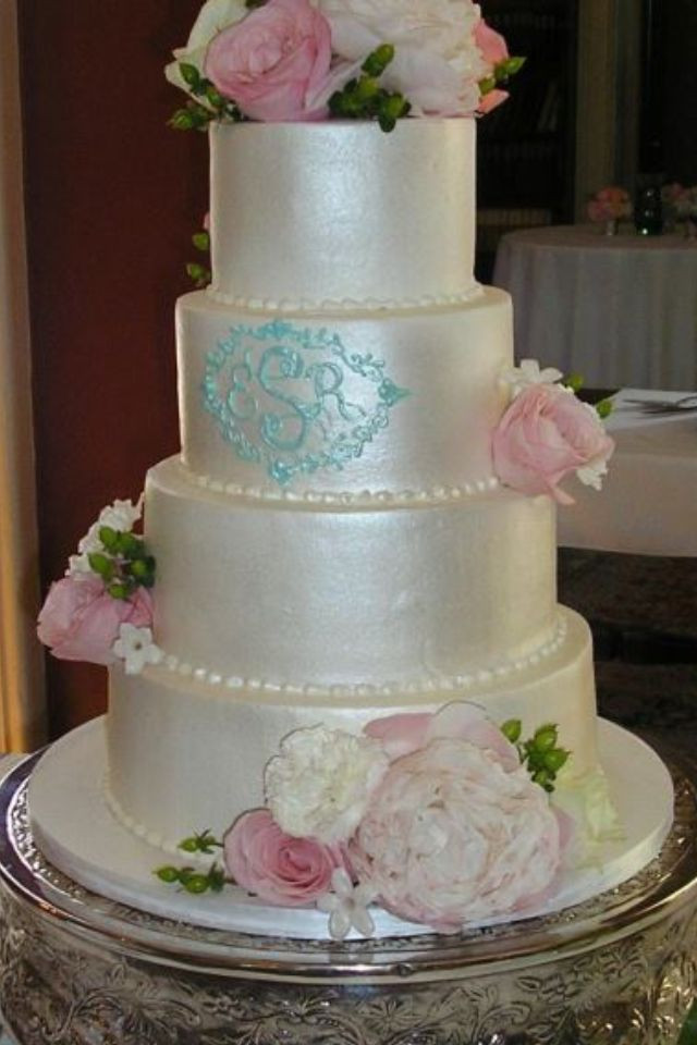 Wedding Cakes Lexington Ky  White wedding cake with blue lettering by Tinker s cake