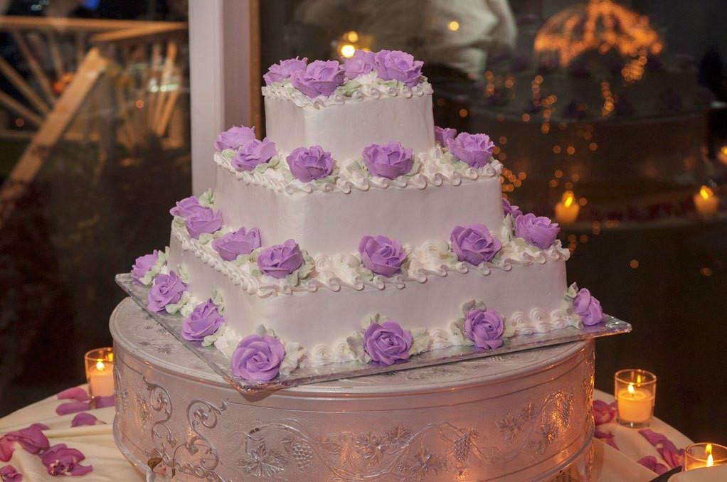 Wedding Cakes Long Island  Wedding Cake Purple Flowers