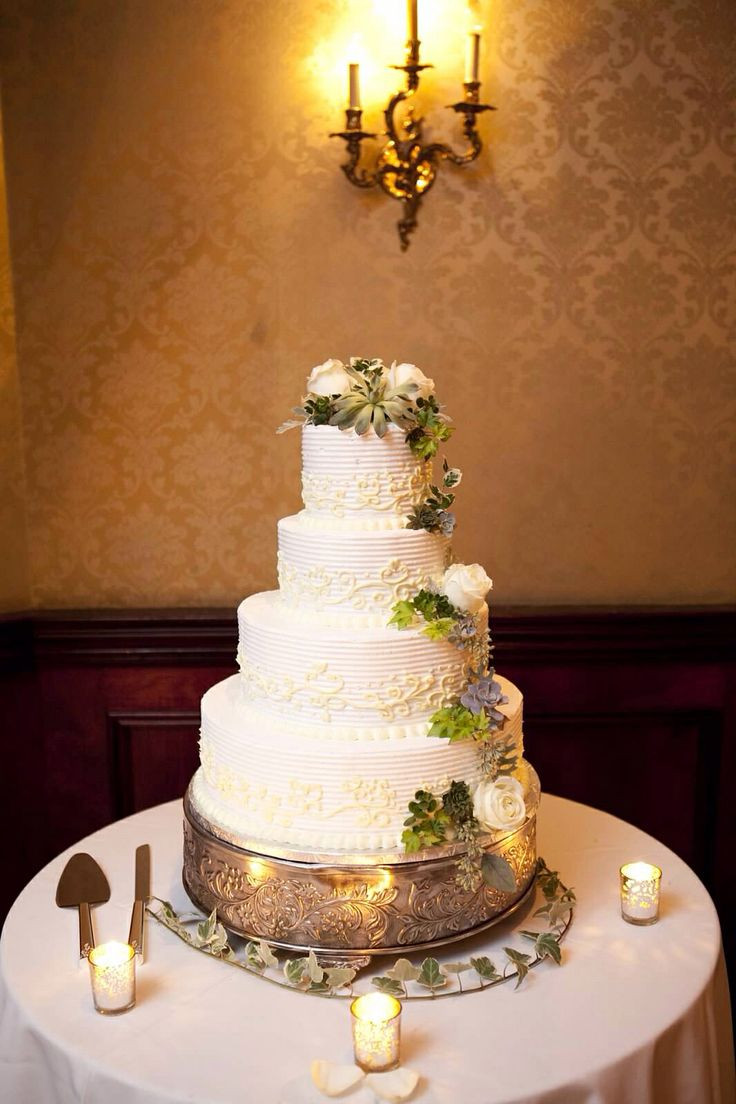Wedding Cakes Long Island  Buttercream frosting wedding cake with roses and