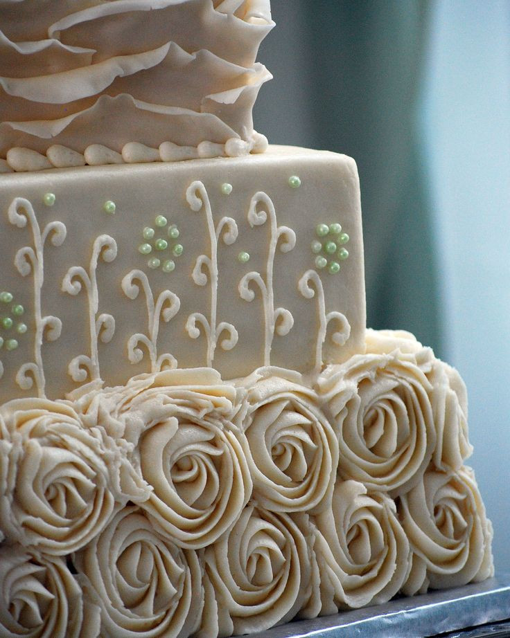 Wedding Cakes Medford Oregon  Rustic Shabby Chic Square Wedding Cake Rosettes Ruffles