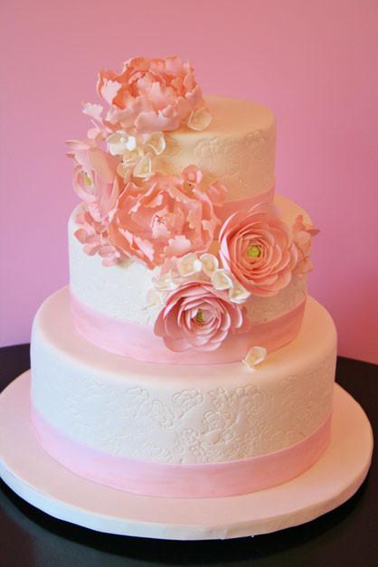 Wedding Cakes Nyc  Wedding Cakes New York City Pink Floral Custom Cakes