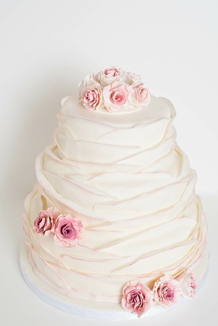 Wedding Cakes Ontario California  Beautiful 3 tier Softly Ruffled Wedding Cake with pink