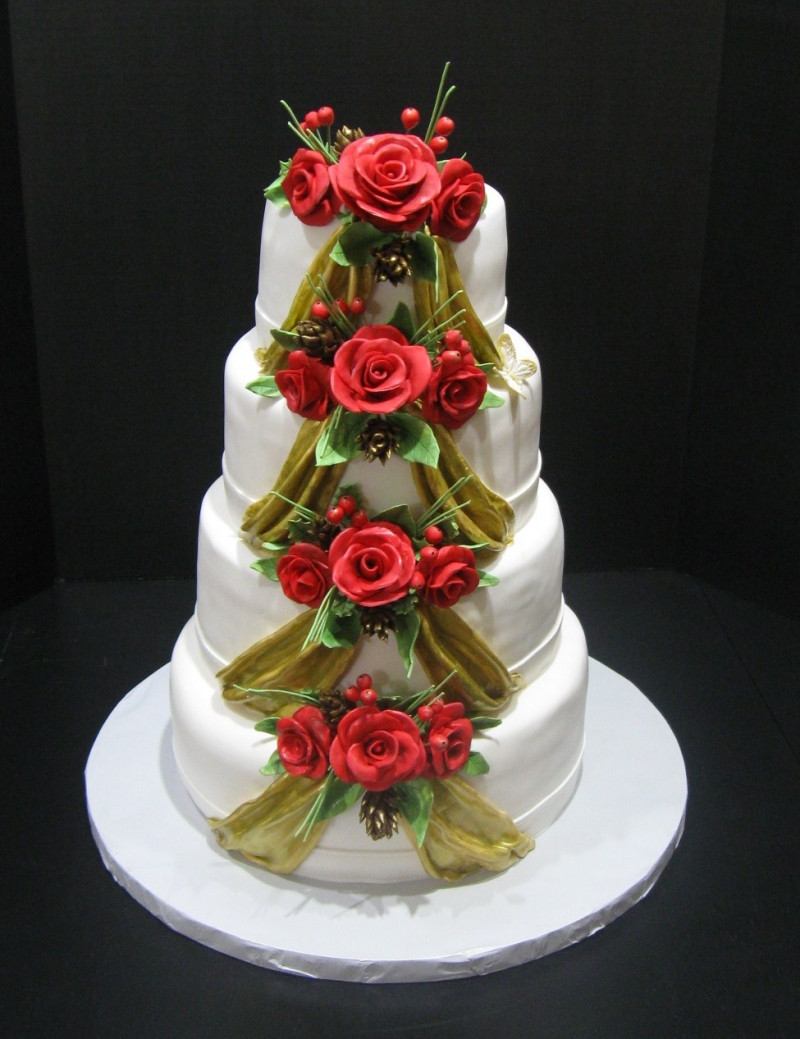Wedding Cakes Ornaments  Magnificent Four Layered Round Shape Fancy White Christmas