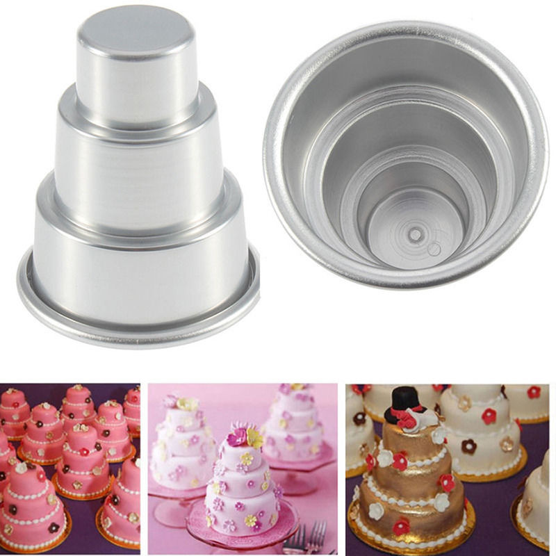 Wedding Cakes Pans  3 Sizes Mini 3 Tier Wedding Cake Tins Pudding Pan Baking