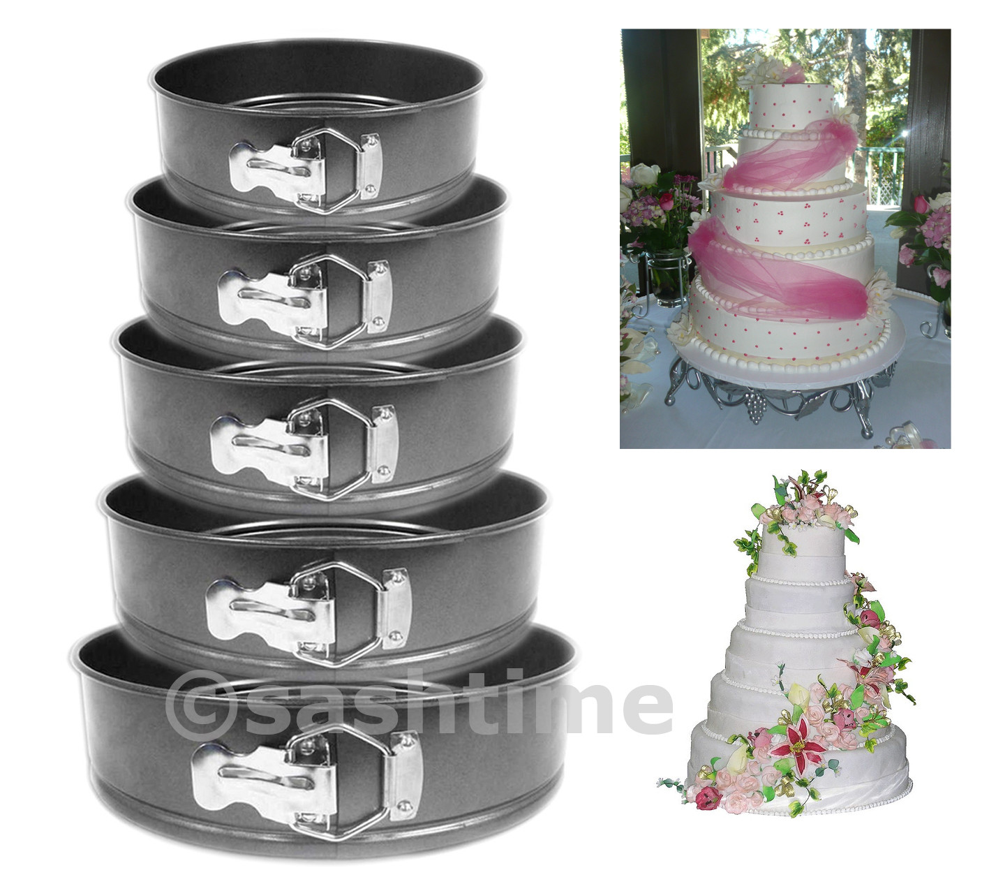 Wedding Cakes Pans  NEW 5PC NON STICK SPRINGFORM CAKE PAN BAKING BAKE ROUND