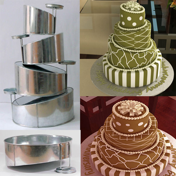 Wedding Cakes Pans  Topsy Turvy Set of 4 Round Cake Pans with Detachable Stand