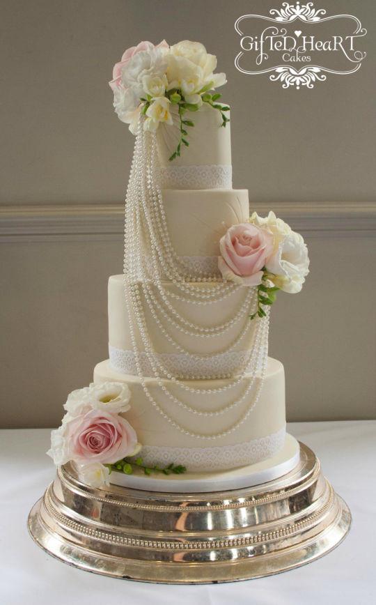 Wedding Cakes Pearls  Pearls and Roses Wedding Cake Cake by Emma Waddington
