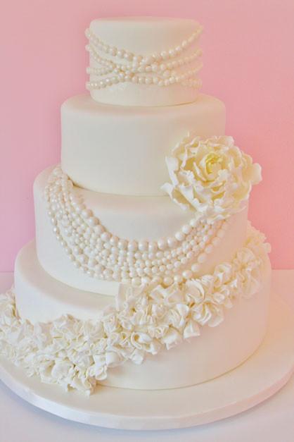 Wedding Cakes Pearls  Wedding Cakes NJ Pearls and Ruffles Custom Cakes
