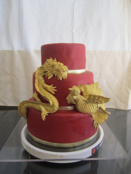 Wedding Cakes Phoenix  Dragon & Phoenix Wedding Cake and Cupake Display Cake by