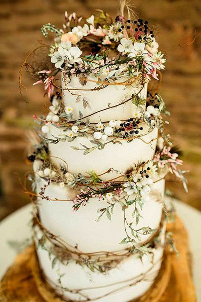 Wedding Cakes Pictures Pinterest  24 Rustic Wedding Cakes With Floral & Berry Decorations