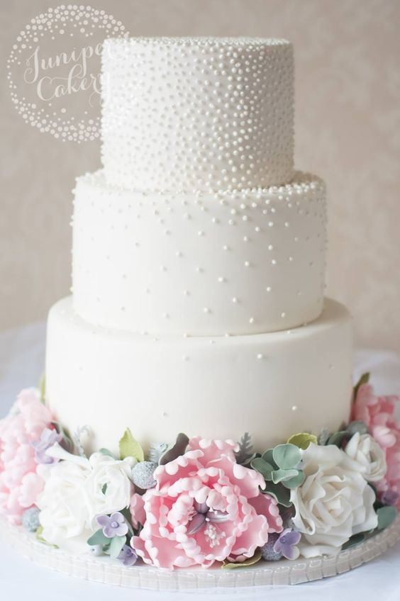 Wedding Cakes Pictures Pinterest  Three Tier Pearl Studded White Wedding Cake