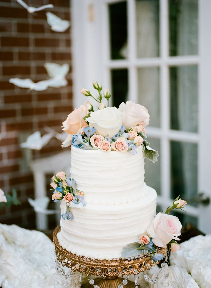 Wedding Cakes Pictures Pinterest  Buttercream Wedding Cake With Blush and Blue Flowers