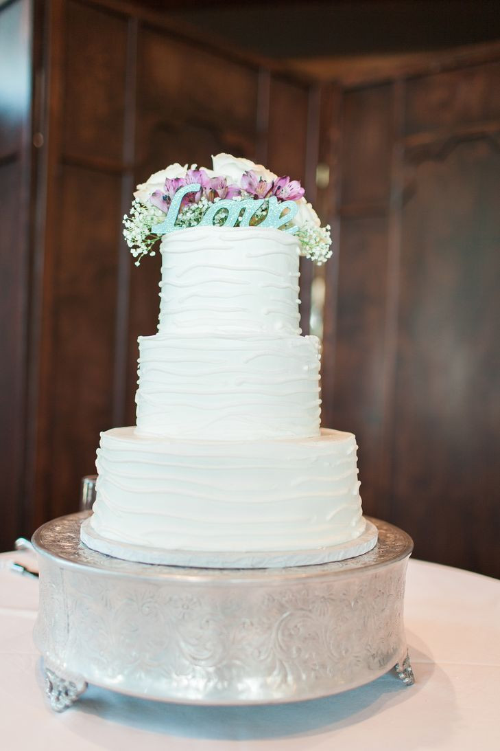 Wedding Cakes Plano Tx  Classic White Wedding Cake with Love Topper in Plano Texas