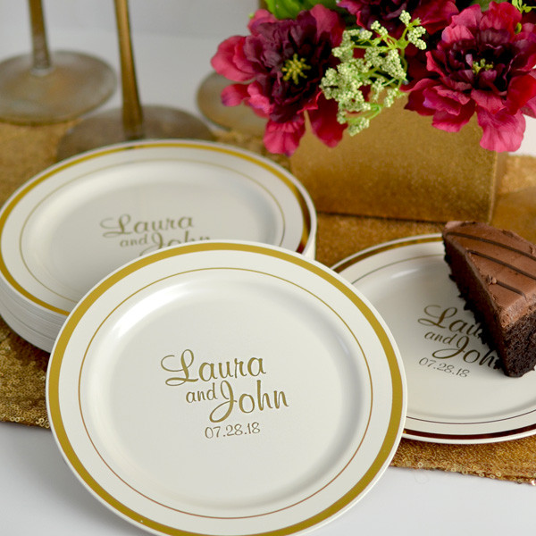 Wedding Cakes Plates  7 In Gold Trim Plastic Dessert Plates Personalized