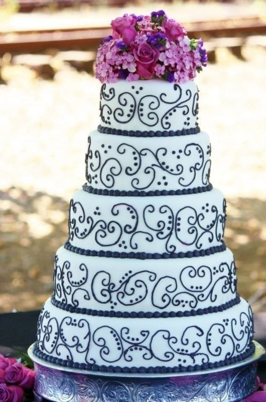 Wedding Cakes Purple And White  Black And White W Purple Wedding Cake CakeCentral