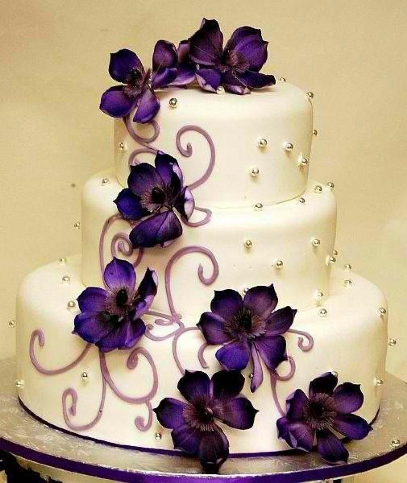 Wedding Cakes Purple Flowers  Royal Wedding Theme Try Purple Wedding Cakes Wedding