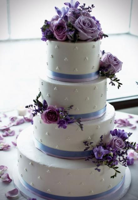 Wedding Cakes Purple Flowers  White 4 Tier Wedding Cake with Lavender Light Purple