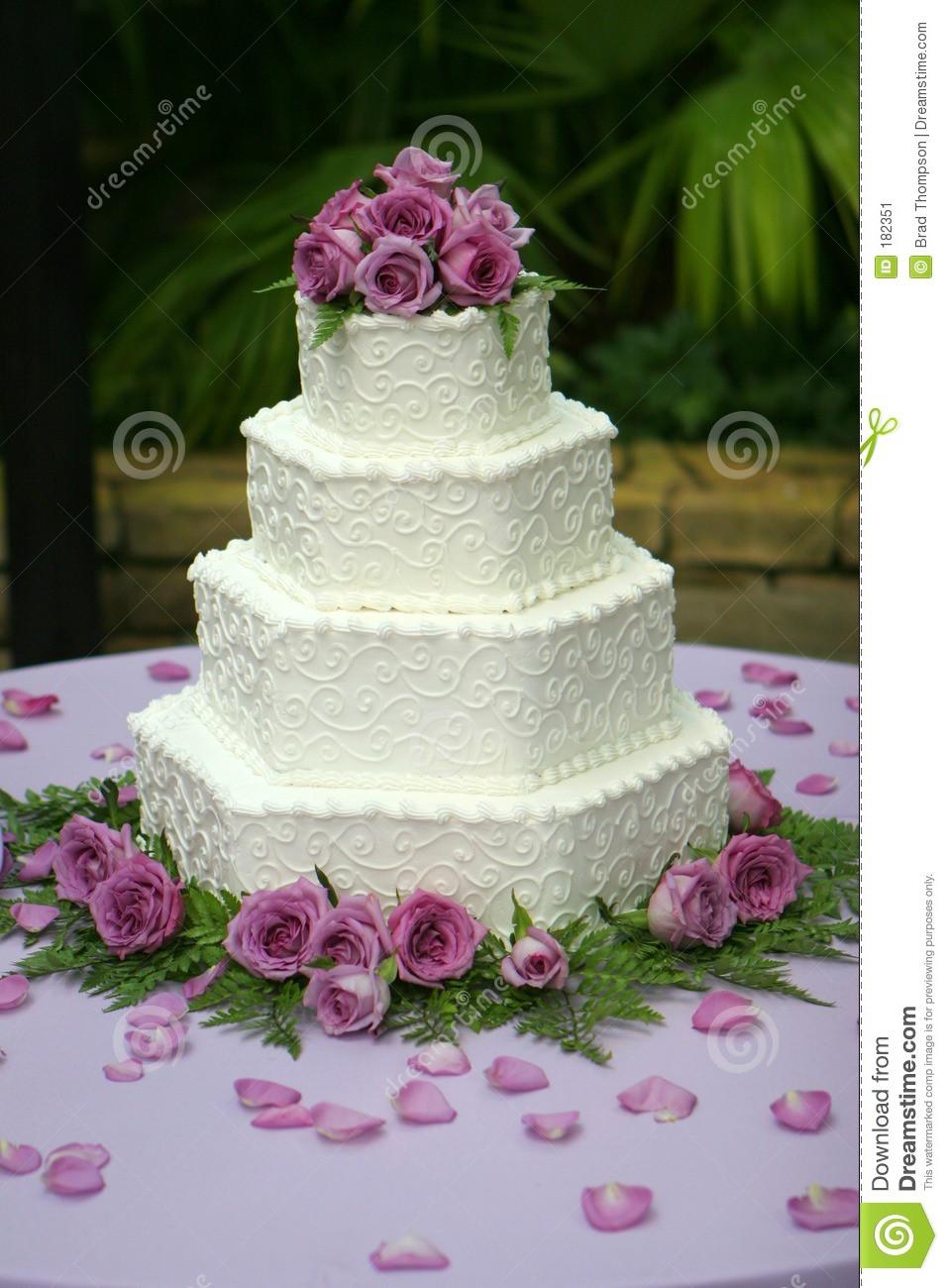 Wedding Cakes Purple Flowers  Tiered Wedding Cake With Purple Flowers Stock Image
