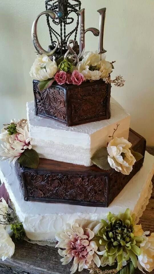 Wedding Cakes Rapid City Sd  Tooled Leather wedding cake by 2 Sisters Bakery in Rapid
