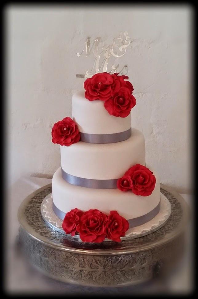 Wedding Cakes Red Roses  Delana s Cakes Red Roses Wedding Cake