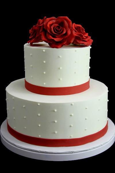 Wedding Cakes Red Roses  Red Rose & Swiss Dot Wedding Wedding Cake Butterfly Bake