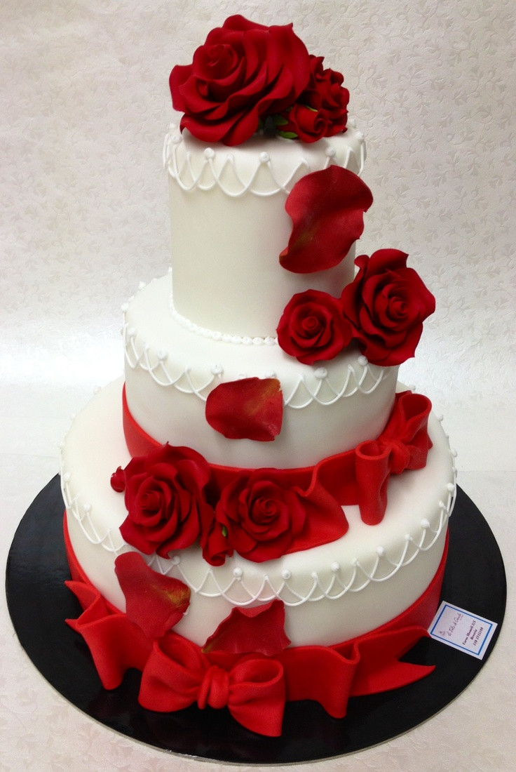 Wedding Cakes Red Roses  Red rose wedding cake idea in 2017