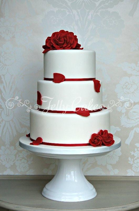 Wedding Cakes Red Roses  red roses wedding cake 0