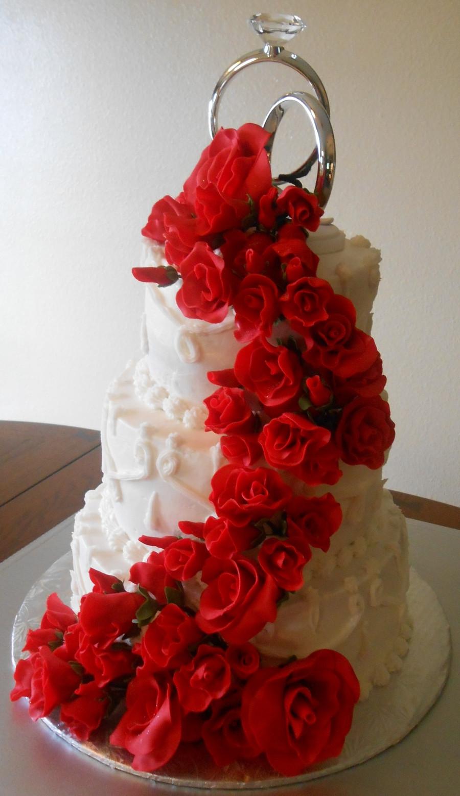Wedding Cakes Red Roses  Red Roses Wedding Cake All Fondantgumpaste Roses Cake Was