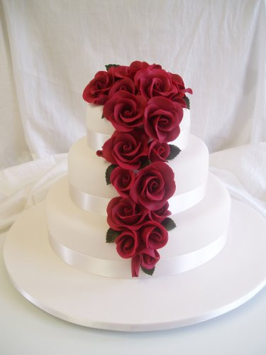 Wedding Cakes Red Roses  Wedding Cakes Three Tier Round Red Roses Wedding