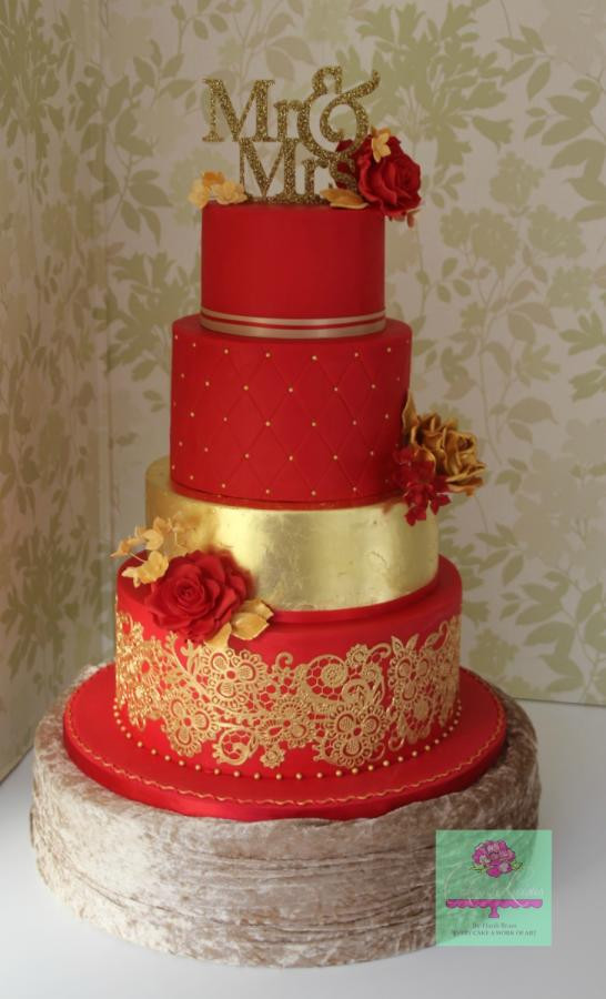 Wedding Cakes Red  Red and Gold wedding cake cake by Cakes o Licious