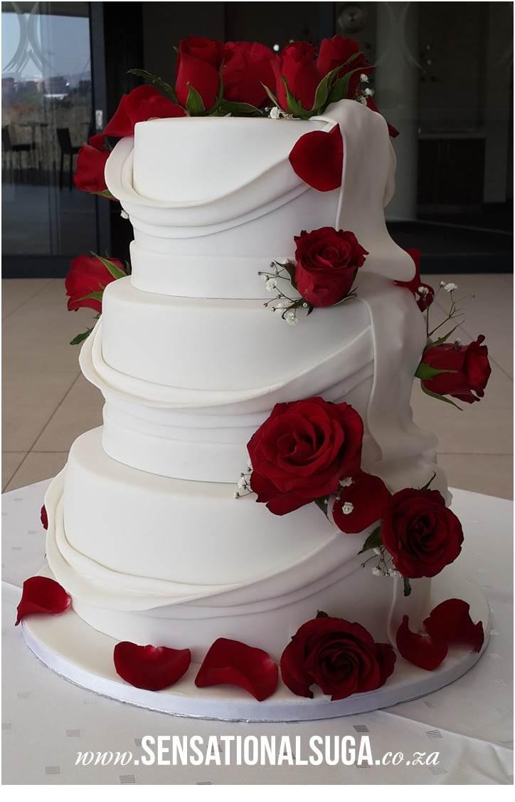 Wedding Cakes Red  Draped Wedding Cake with Red Roses Sensational Suga