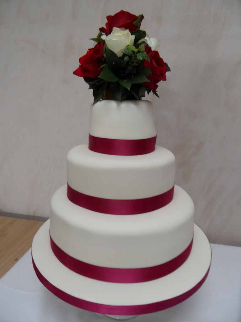 Wedding Cakes Ribbon  Ruby Red Ribbon Wedding Cake Georgina s Cakes