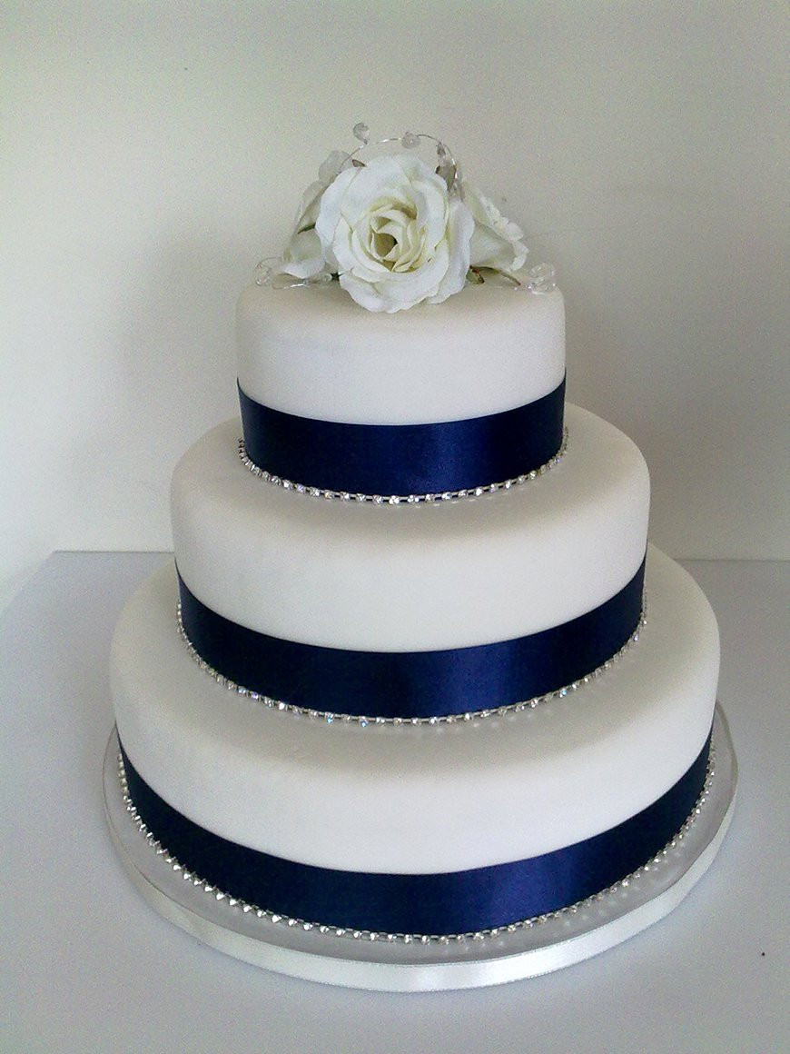 Wedding Cakes Ribbon  Navy Wedding Cake Decorations Wedding Ideas By Colour