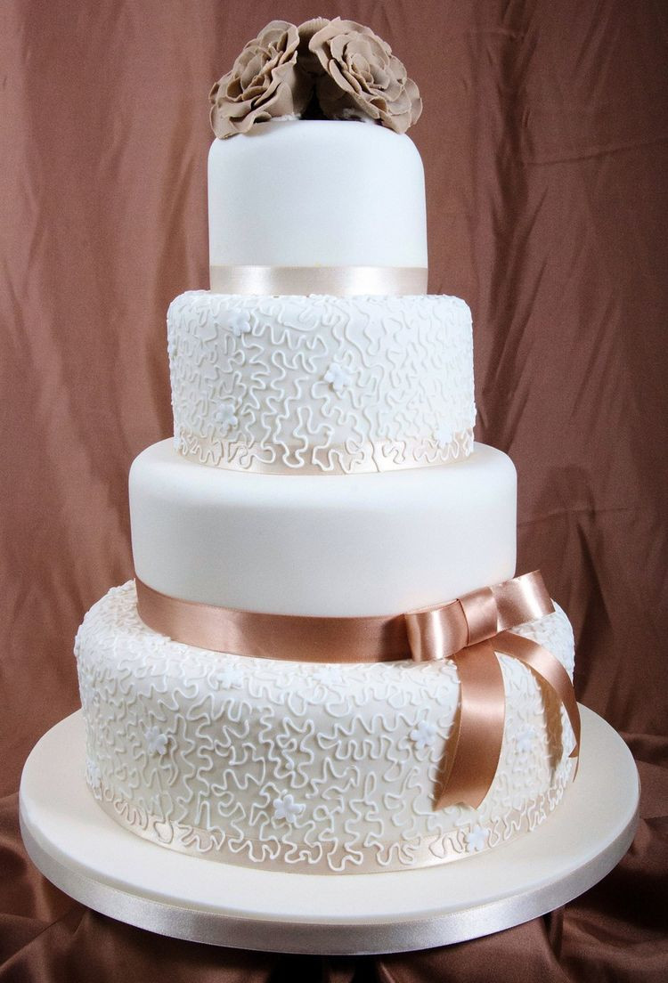 Wedding Cakes Ribbon  Wedding cake with brown ribbon