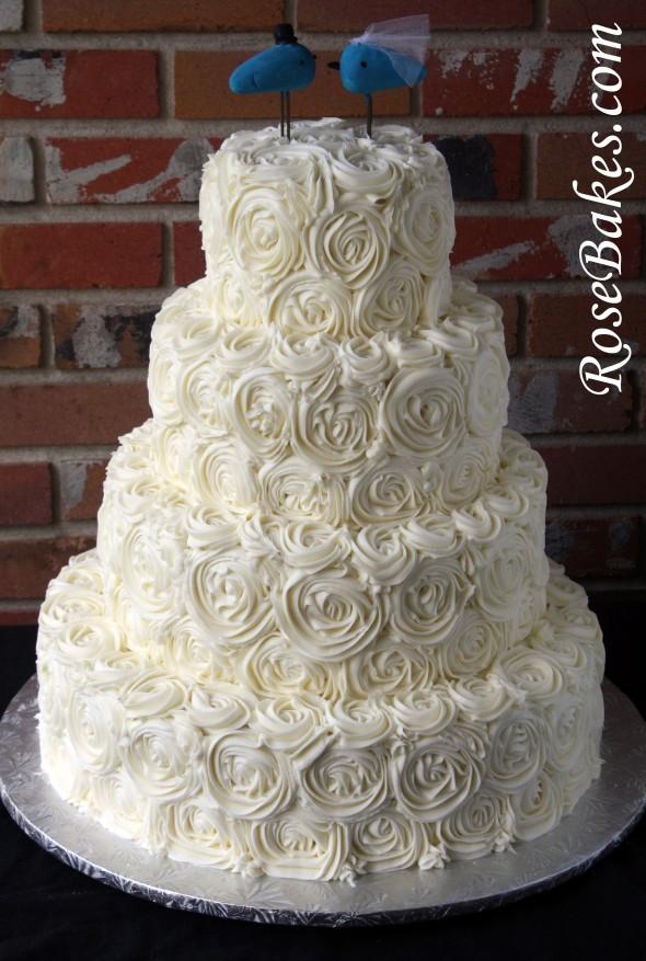 Wedding Cakes Rose  Ivory Buttercream Roses Wedding Cake with LoveBirds Cake